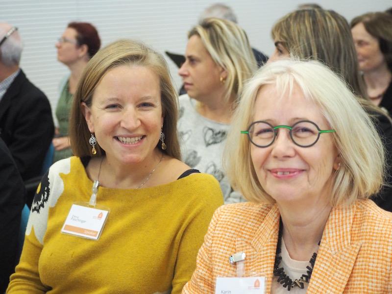 "Elena Paschinger, of Kreativ Reisen Österreich, and Karin Dada-Kühn, of the German association ""Culture & Work"", presenting at the FRH conference in Vicenza."