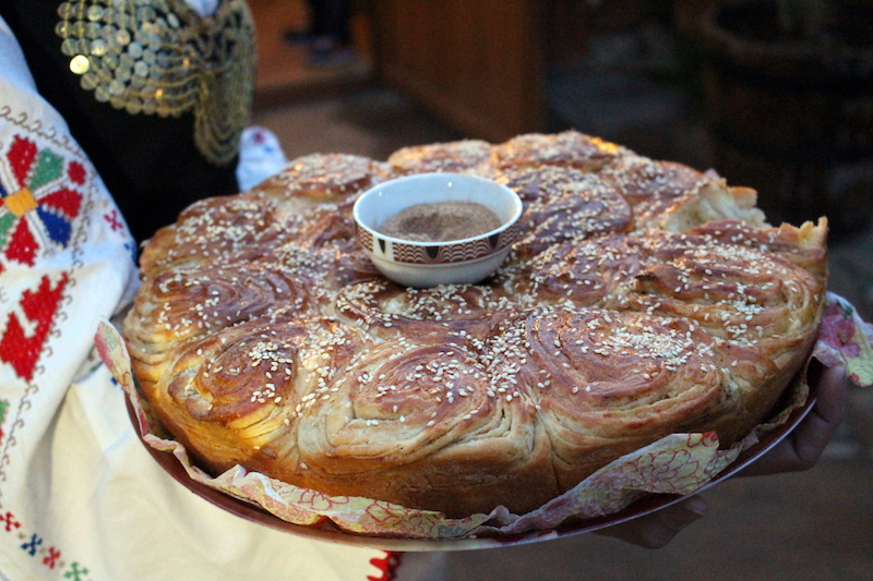 "Title: Traditional Bulgarian bread called ""pita"