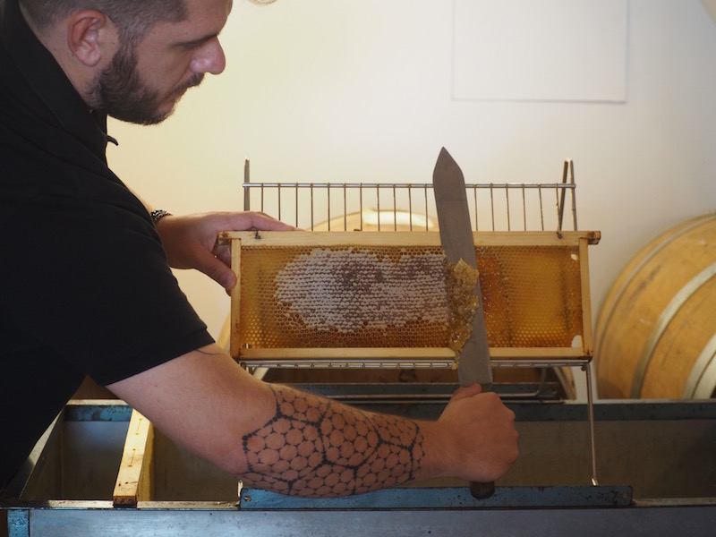 Giorgio Poeta demonstrating honey harvesting techniques at his shop in Fabriano, Marche region, Italy.