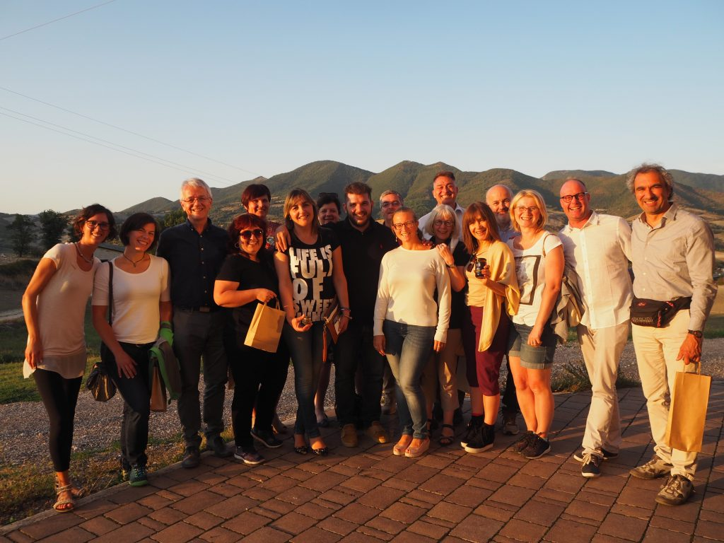 The EUROPETOUR team gathers at the honey-producing estate of Giorgio Poeta, in Marche region (c) Elena Paschinger